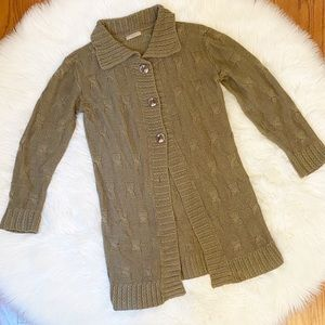 Women's Burberry Brit Olive Green Button Sweater
